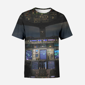 Airbus A380 Cockpit Printed 3D T-Shirts