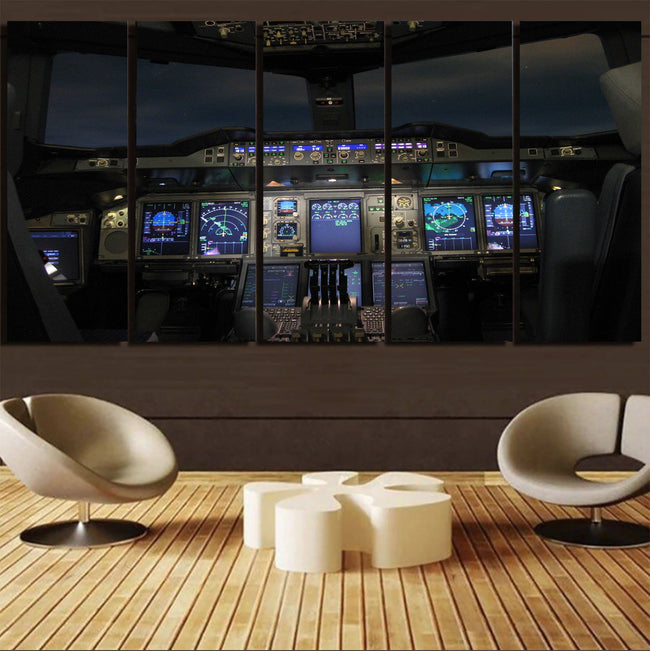 Airbus A380 Cockpit Printed Canvas Prints (5 Pieces) Aviation Shop