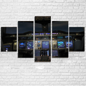 Airbus A380 Cockpit Printed Multiple Canvas Poster Aviation Shop