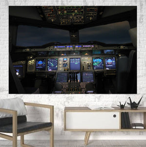 Airbus A380 Cockpit Printed Canvas Posters (1 Piece) Aviation Shop