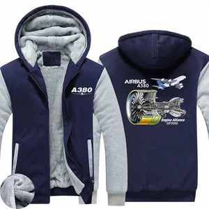 Airbus A380 & GP7000 Engine Designed Zipped Sweatshirts