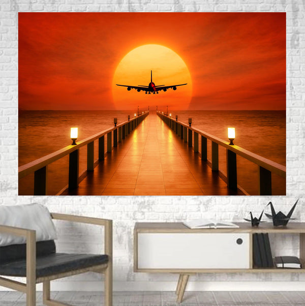 Airbus A380 Towards Sunset Printed Canvas Posters (1 Piece)