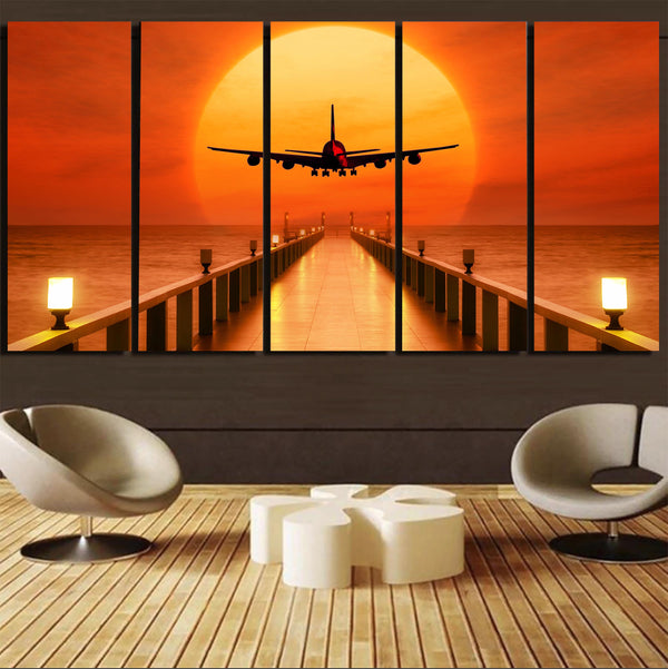 Airbus A380 Towards Sunset Canvas Prints (5 Pieces)