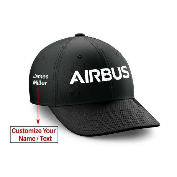 Customizable Name & Airbus & Text Embroidered Hats