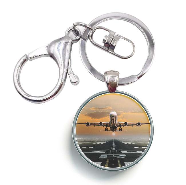 Aircraft Departing from RW30 Designed Circle Key Chains