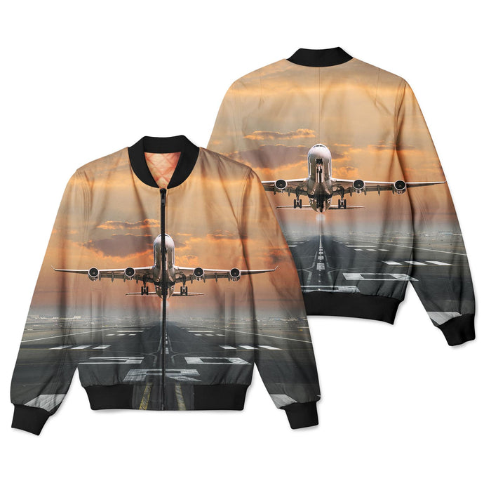 Aircraft Departing from RW30 Designed 3D Pilot Bomber Jackets