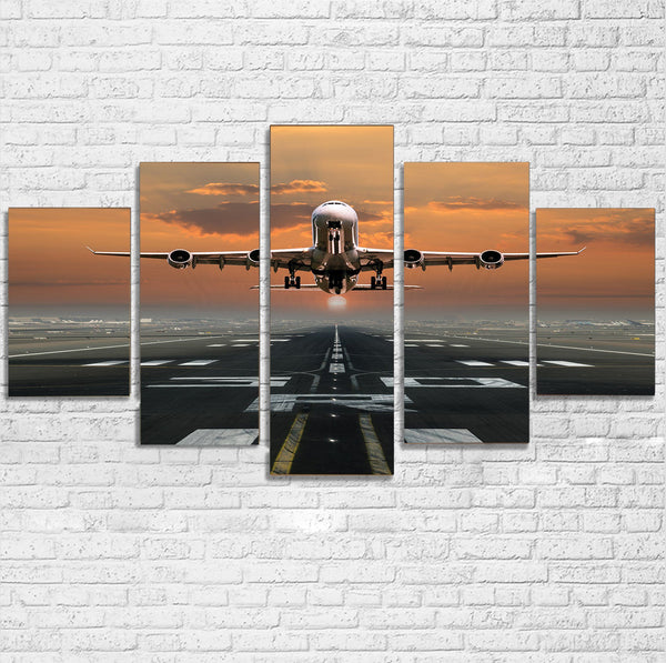 Aircraft Departing from RW30 Printed Multiple Canvas Poster Aviation Shop