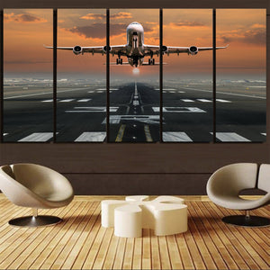 Aircraft Departing from RW30 Printed Canvas Prints (5 Pieces) Aviation Shop