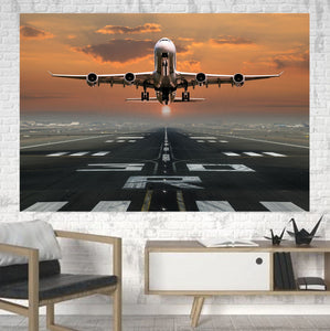 Aircraft Departing from RW30 Printed Canvas Posters (1 Piece) Aviation Shop