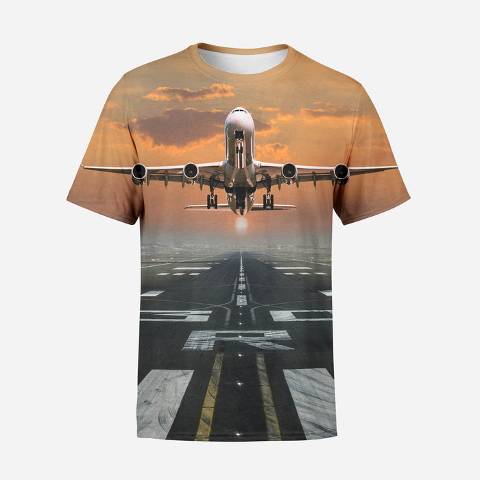 Aircraft Departing from RW30 Printed 3D T-Shirt