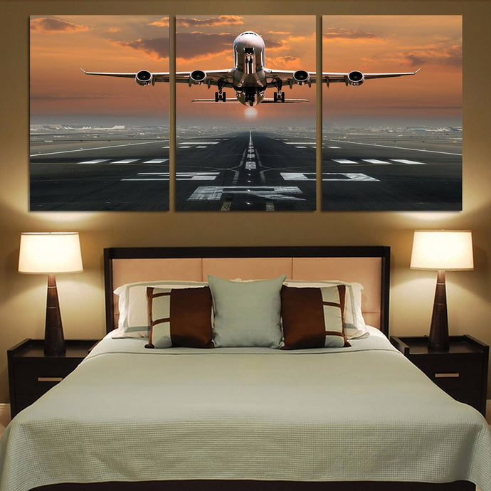 Aircraft Departing from RW30 Printed Canvas Posters (3 Pieces) Aviation Shop