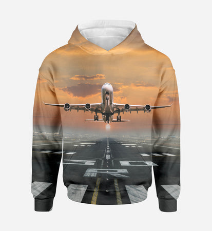 Aircraft Departing from RW30 Printed 3D Hoodies