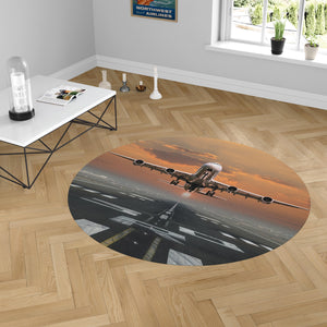 Aircraft Departing from RW30 Designed Carpet & Floor Mats (Round)