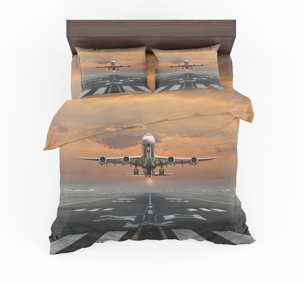 Aircraft Departing from RW30 Designed Bedding Sets