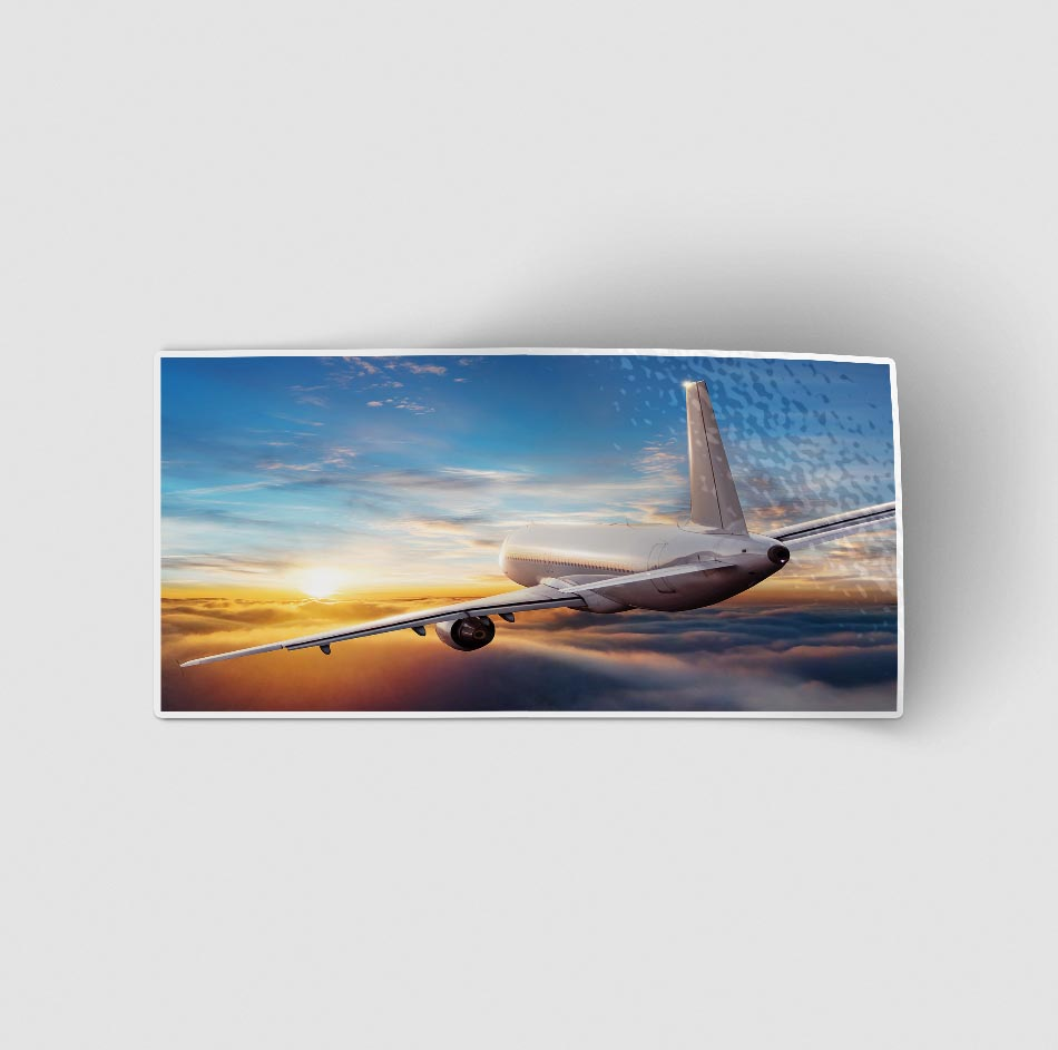 Airliner Jet Cruising over Clouds Designed Stickers
