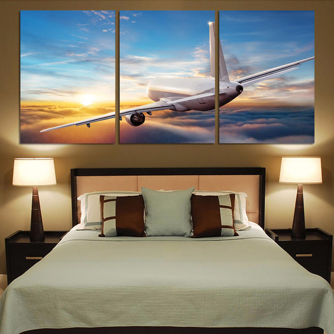 Airliner Jet Cruising over Clouds Printed Canvas Posters (3 Pieces)