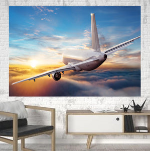 Airliner Jet Cruising over Clouds Printed Canvas Posters (1 Piece)