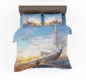 Airliner Jet Cruising over Clouds Designed Bedding Sets