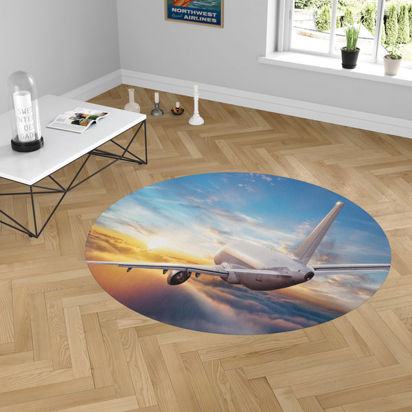 Airliner Jet Cruising over Clouds Designed Carpet & Floor Mats (Round)