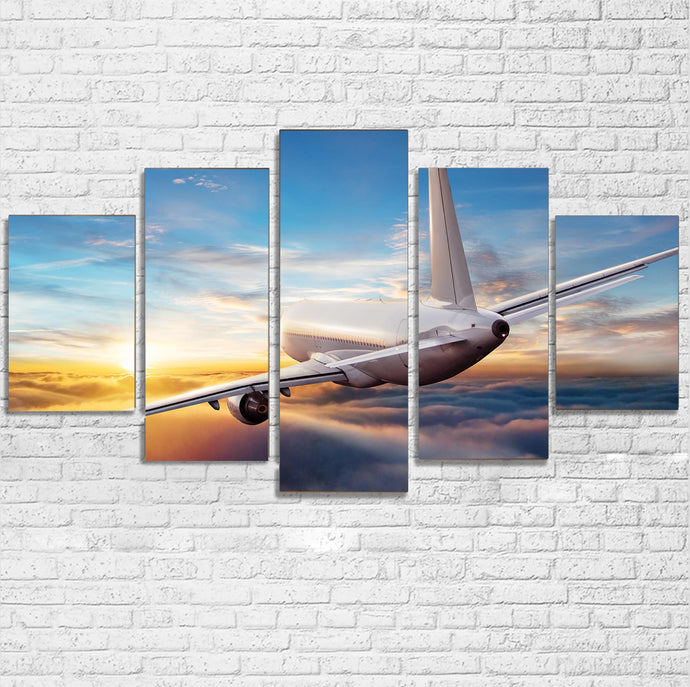 Airliner Jet Cruising over Clouds Printed Multiple Canvas Poster