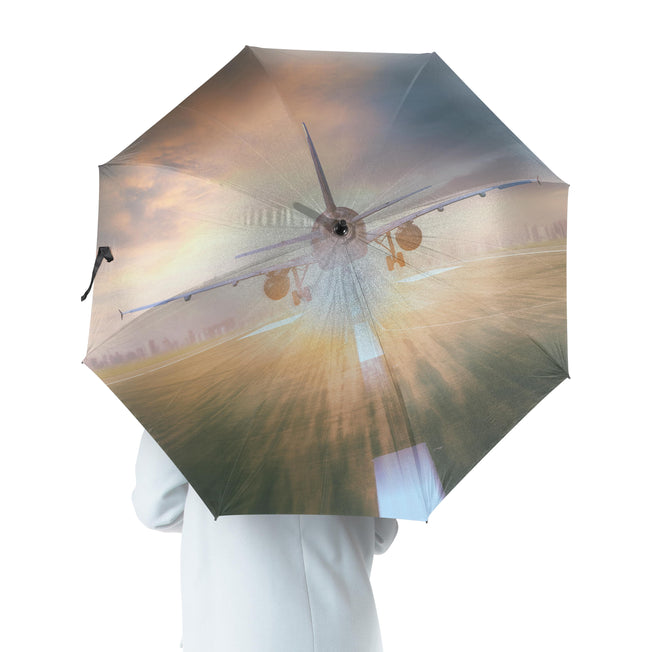 Airplane Flying Over Runway Designed Umbrella