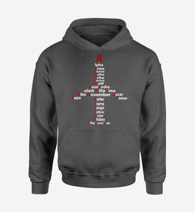 Airplane Shape Aviation Alphabet Designed Hoodies
