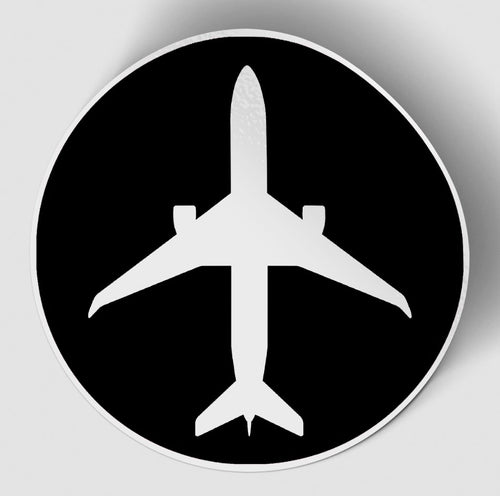 Airplane & Circle (Black) Designed Stickers