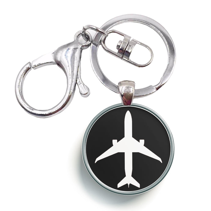 Airplane & Circle Designed Circle Key Chains