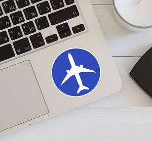 Airplane & Circle (Blue) Designed Stickers