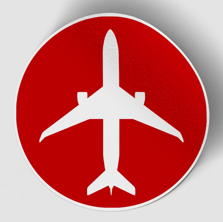 Airplane & Circle (Red) Designed Stickers