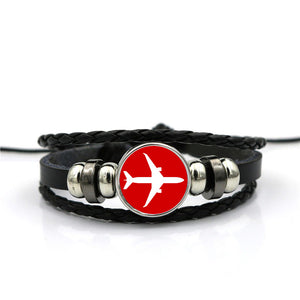 Airplane & Circle Designed Leather Bracelets
