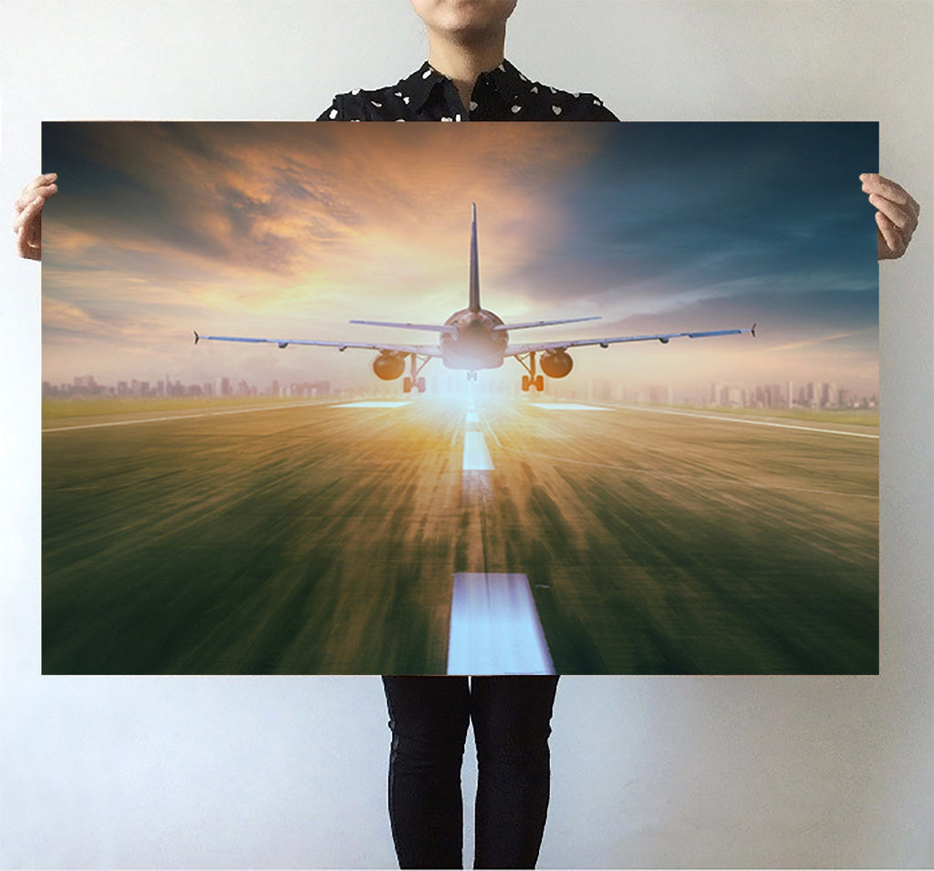 Airplane Flying Over Runway Printed Posters