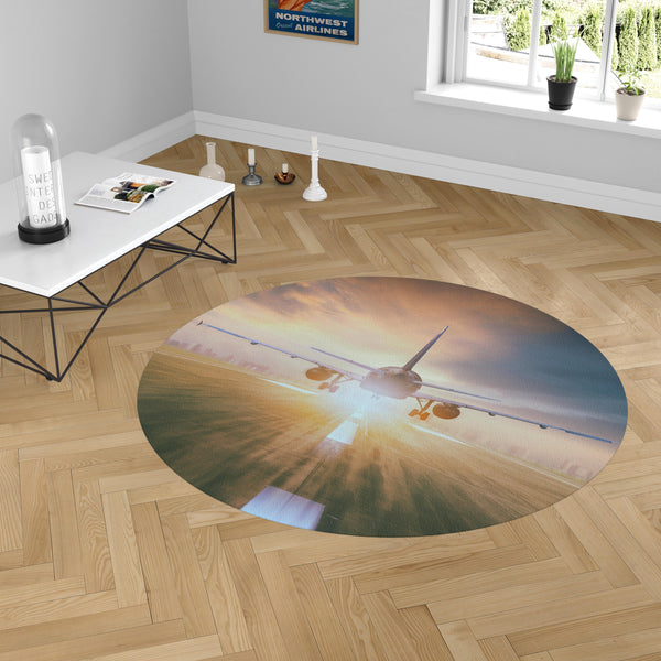 Airplane Flying Over Runway Designed Carpet & Floor Mats (Round)