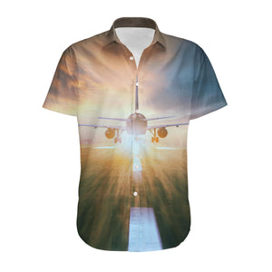 Airplane Flying Over Runway Designed 3D Shirts
