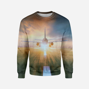 Airplane Flying Over Runway Printed 3D Sweatshirts