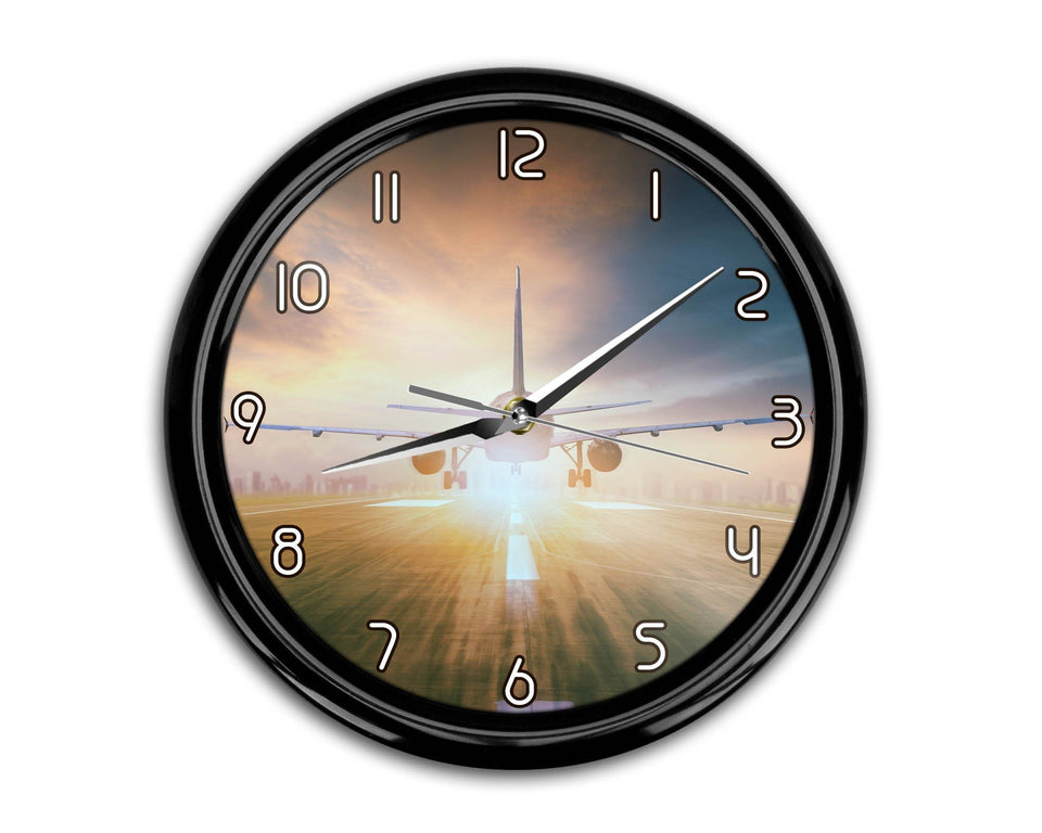 Airplane Flying Over Runway Printed Wall Clocks Aviation Shop