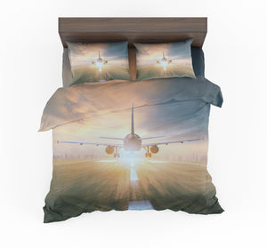 Airplane Flying Over Runway Designed Bedding Sets