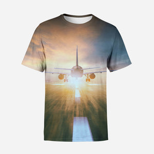 Airplane Flying Over Runway Printed T-Shirts