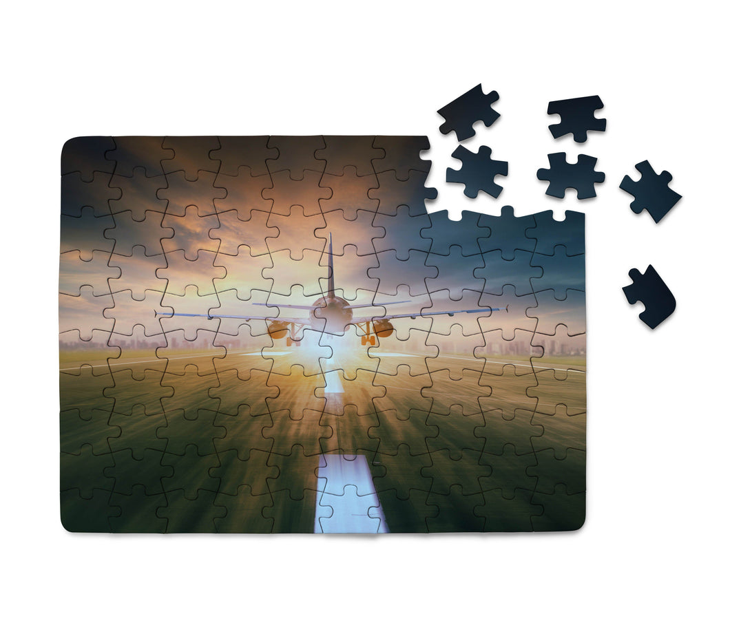 Airplane Flying Over Runway Printed Puzzles Aviation Shop