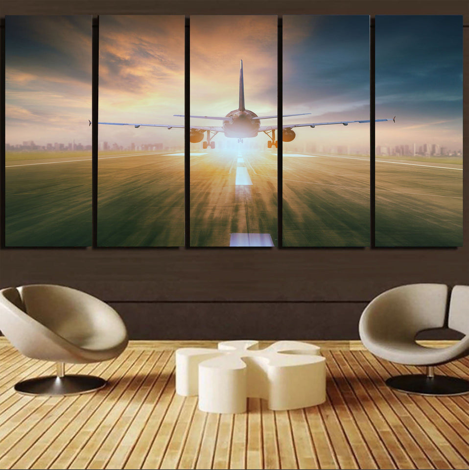 Airplane Flying Over Runway Printed Canvas Prints (5 Pieces) Aviation Shop