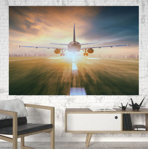 Airplane Flying Over Runway Printed Canvas Posters (1 Piece) Aviation Shop