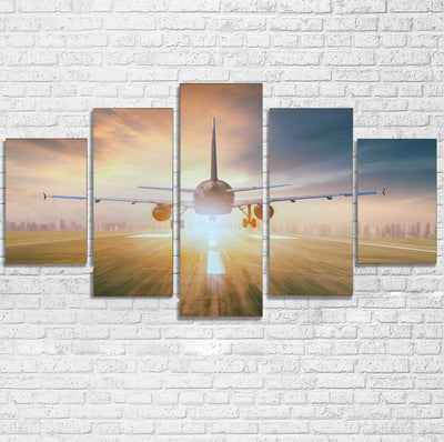 Airplane Flying Over Runway Printed Multiple Canvas Poster