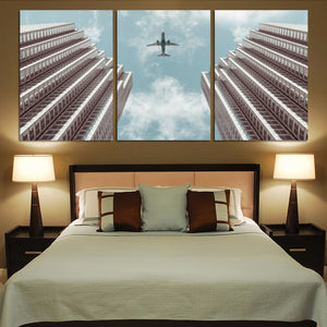 Airplane Flying over Big Buildings Printed Canvas Posters (3 Pieces) Aviation Shop