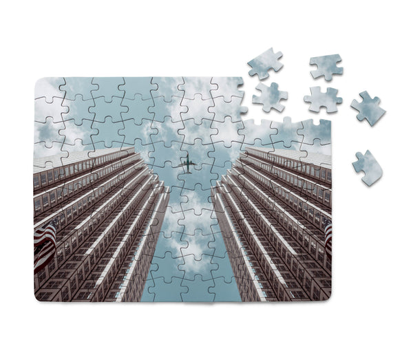 Airplane Flying over Big Buildings Printed Puzzles Aviation Shop