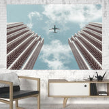 Airplane Flying over Big Buildings Printed Canvas Posters (1 Piece) Aviation Shop