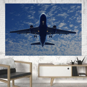 Airplane From Below Printed Canvas Posters (1 Piece) Aviation Shop