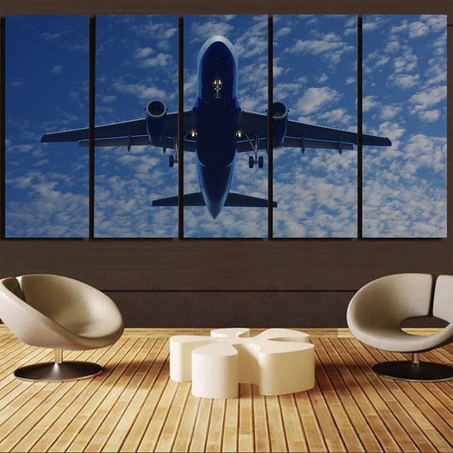 Airplane From Below Printed Canvas Prints (5 Pieces) Aviation Shop
