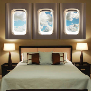 Airplane Windows & Clouds Printed Canvas Posters (3 Pieces) Aviation Shop