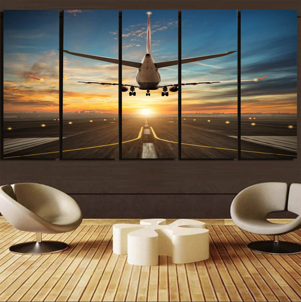 Airplane over Runway Towards the Sunrise Printed Canvas Prints (5 Pieces) Aviation Shop