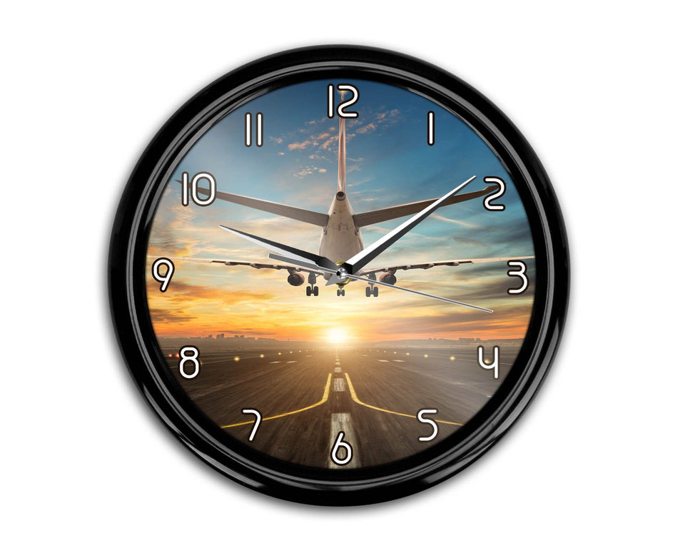 Airplane over Runway Towards the Sunrise Printed Wall Clocks Aviation Shop